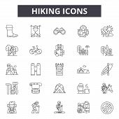 Hiking Line Icons, Signs Set, Vector. Hiking Outline Concept, Illustration: Hiking, Travel, Nature,  poster