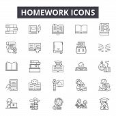 Homework Line Icons, Signs Set, Vector. Homework Outline Concept, Illustration: Homework, School, Ed poster