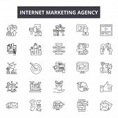 Internet Marketing Agency Line Icons, Signs Set, Vector. Internet Marketing Agency Outline Concept,  poster