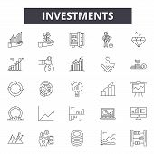 Investments Line Icons, Signs Set, Vector. Investments Outline Concept, Illustration: Money, Busines poster