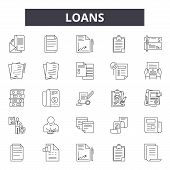Loans Line Icons, Signs Set, Vector. Loans Outline Concept, Illustration: Loan, Money, Business, Pay poster