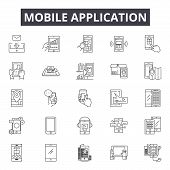 Mobile Application Line Icons, Signs Set, Vector. Mobile Application Outline Concept, Illustration:  poster