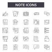 Note Line Icons, Signs Set, Vector. Note Outline Concept, Illustration: Note, Graphic, Isolated, Obj poster