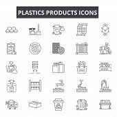 Plastics Products Line Icons, Signs Set, Vector. Plastics Products Outline Concept, Illustration: Pl poster