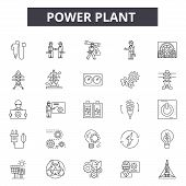 Power Plant Line Icons, Signs Set, Vector. Power Plant Outline Concept, Illustration: Plant, Power,  poster