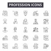 Profession Line Icons, Signs Set, Vector. Profession Outline Concept, Illustration: Profession, Doct poster
