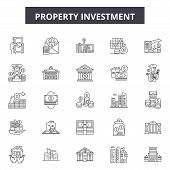 Property Investment Line Icons, Signs Set, Vector. Property Investment Outline Concept, Illustration poster