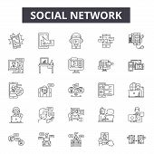 Social Network Line Icons, Signs Set, Vector. Social Network Outline Concept, Illustration: Network, poster