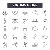 Strong Line Icons, Signs Set, Vector. Strong Outline Concept, Illustration: Strong, Strength, Arm, I poster