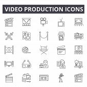 Video Production Line Icons, Signs Set, Vector. Video Production Outline Concept, Illustration: Vide poster