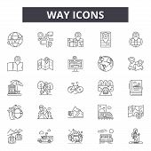 Way Line Icons, Signs Set, Vector. Way Outline Concept, Illustration: Way, Direction, Arrow, Street, poster