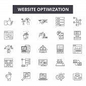 Website Optimization Line Icons, Signs Set, Vector. Website Optimization Outline Concept, Illustrati poster