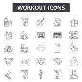 Workout Line Icons, Signs Set, Vector. Workout Outline Concept, Illustration: Gym, Fitness, Sport, E poster