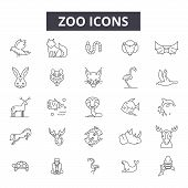 Zoo Line Icons, Signs Set, Vector. Zoo Outline Concept, Illustration: Zoo, Animal, Wild, Dewildlife, poster