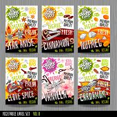Food Label Set Stickers Collection Vegetable Labels Spices Package Design. Star Anise, Nutmeg, Cinna poster