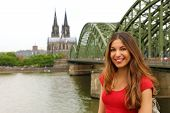 Europe Tourist Traveler Woman. Happy Smiling Girl Enjoying Travel In Germany. Beautiful Traveler Gir poster