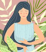 Beautiful Woman Sitting In Tropical Nature In Peace And Calm. poster