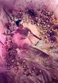 Weightless. Top View Of Beautiful Young Woman In Pink Ballet Tutu Surrounded By Flowers. Spring Mood poster