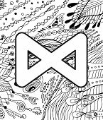 Ancient Scandinavic Rune Daegaz With Doodle Ornament Background. Coloring Page For Adults. Psychedel poster