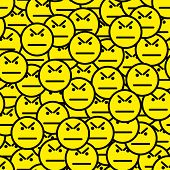 Angry Faces (angry Smile Icons) Seamless Pattern. Anger And Protest In A Crowd. Vector Illustration. poster