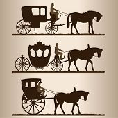stock photo of carriage horse  - Silhouettes of horse - JPG