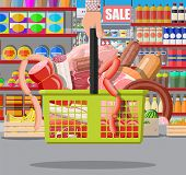 Meat Products In Supermarket Basket. Meat Store Butcher Shop Showcase Counter. Sausage Slices Produc poster