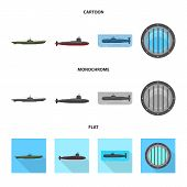 Isolated Object Of War  And Ship Icon. Set Of War  And Fleet Vector Icon For Stock. poster