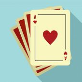 Play Fortune Cards Icon. Flat Illustration Of Play Fortune Cards Vector Icon For Web Design poster