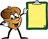 Cartoon Of Animated Acorn Holding Clipboard poster