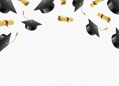 Graduate Caps And Diplomas Flying On A Transparent Background. Academic Hats Thrown Up poster