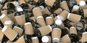 Heap of many empty paper coffee cups. Recycling of plastic waste concept. 3d illustration poster