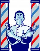 pic of clippers  - Illustration of an african american barber with arms crossed holding a hair clipper and a pair of scissors with upright barber - JPG