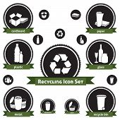 stock photo of reprocess  - Vector icon set of recyclable materials for waste management labels - JPG