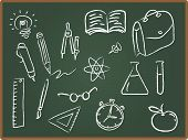 School Icons On Chalkboard 2