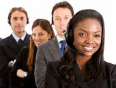 image of telephone operator  - business customer support team with headsets isolated over a white background - JPG