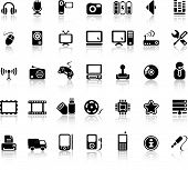 stock photo of internet icon  - Video And Audio Vector Black Icon Set - JPG