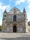 stock photo of poitiers  - Exterior of Notre Dame Cathedral in Poitiers France - JPG