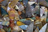 picture of arrowhead  - Colorful arrowheads made from jasper a form of quartz - JPG