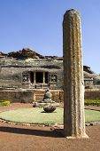 image of ravan  - Huge rock pillar in front of Ravan Pahadi cave temple at Aihole in Bagalkot District Karnataka India Asia - JPG