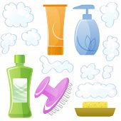 stock photo of scalping  - Bottles of body and hair care and beauty products - JPG