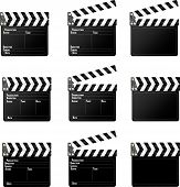 image of tv sets  - Set of movie clap board on white background - JPG