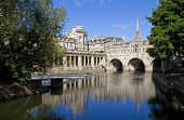 stock photo of avon  - Pulteney Bridge and the River Avon in Bath - JPG