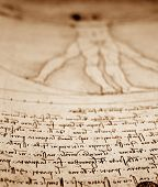image of leonardo da vinci  - Photo of the Vitruvian Man by Leonardo Da Vinci from 1492 on textured background - JPG