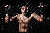 image of caged  - Dramatic portrait of a MMA Fighter grabbing the fighting cage and intimidating his opponents - JPG