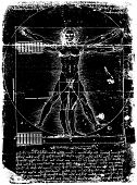 picture of leonardo da vinci  - Photo of the Vitruvian Man by Leonardo Da Vinci from 1492 on textured background - JPG