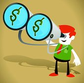 stock photo of greed  - Vector illustration of Retro Corporate Guy with looking for Money with his huge Binoculars - JPG