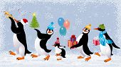 Group of cute penguins in caps walking with christmas gifts