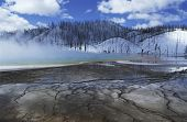USA Wyoming Yellowstone National Park Grand Prismatic Spring mist over hot spring in winter landscap