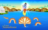stock photo of krishna  - illustration of Krishna dancing on Kaliya naag - JPG