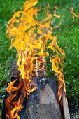 stock photo of brazier  - flames of burning boards in outdoor brazier - JPG